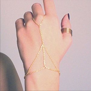 Dainty Gold Chain Hand Harness Bracelet